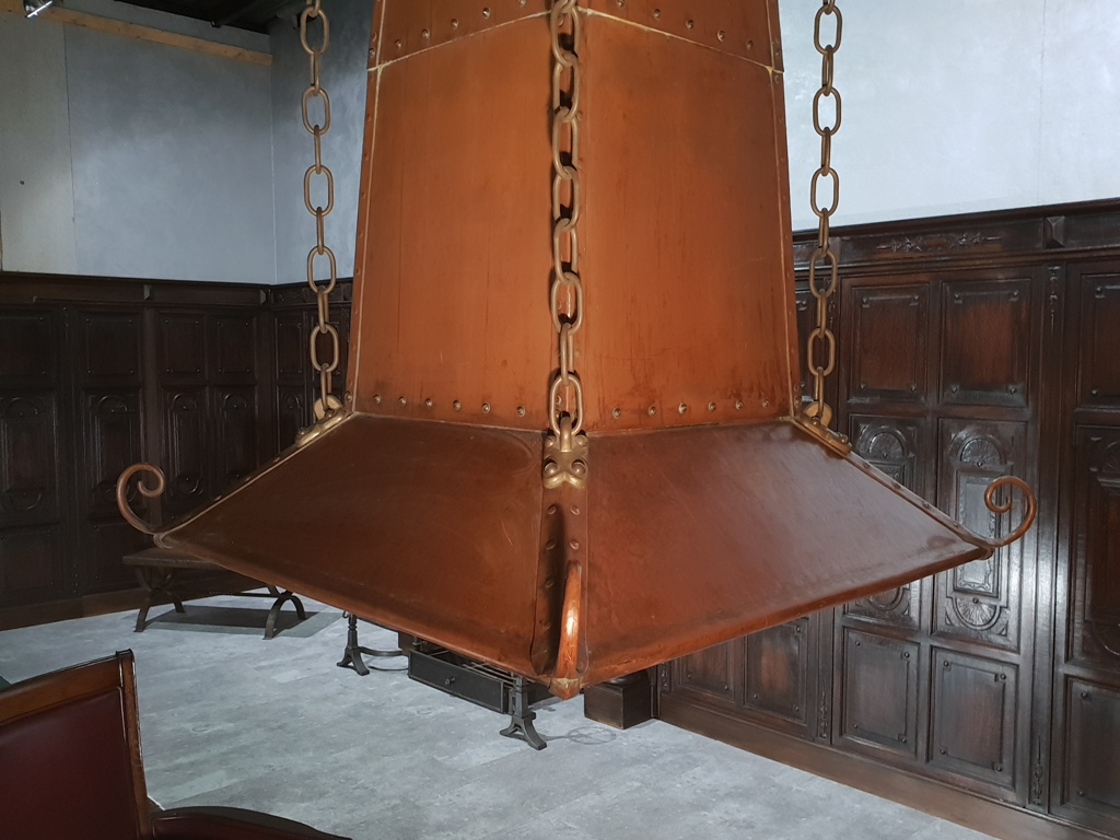 Antique copper fire place hood
