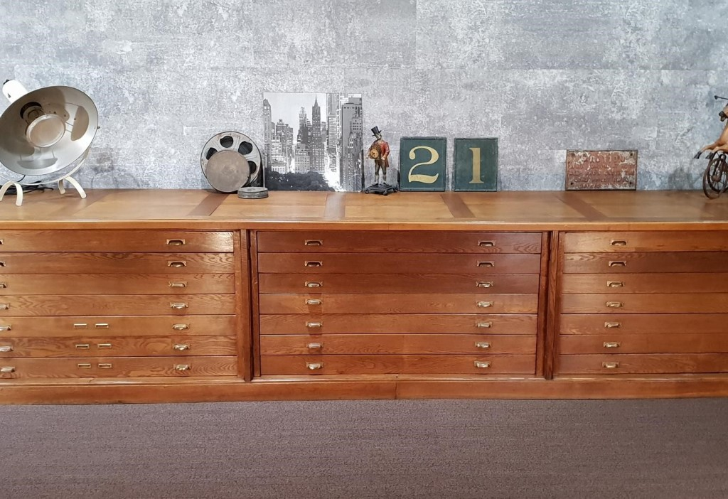 A Splendid Large Vintage 1930s Dutch Oak 21 Drawer Cabinet Chest